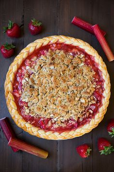 Strawberry rhurbarb pie from @cookingclassy and 12 more all-american pies.