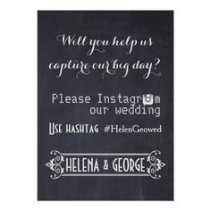 Modern typography with Instagram hashtag wedding Poster