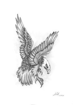 Grey Ink Flying Eagle Tattoo Design
