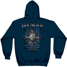 2647acf5b Back the Blue Matthew 5:9 Blessed Are The Peacemakers Thin Blue Line Navy  Hooded Sweatshirt
