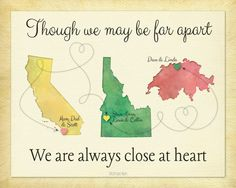 Birthday Gift for Grandma, Personalized Gift for Grandparents, Long Distance Map…
