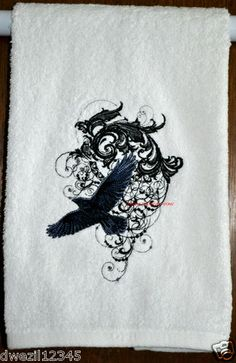 GOTHIC HOUSE OF RAVENS IN WINDY FLIGHT - 2 EMBROIDERED HAND TOWELS by Susan