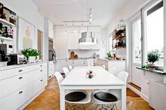big white kitchen, scandinavian