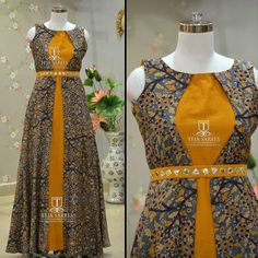 Dress designer kalamkari 16 ideas for 2019 Stylish Dresses, Simple Dresses, Fashion Dresses, Indian Gowns Dresses, Pakistani Dresses, Kalamkari Dresses, Long Gown Dress, Dress Neck Designs, Kurti Designs Party Wear