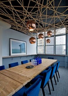 Ropes covering the roof and pendant lighting
