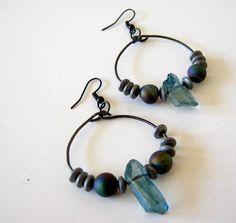 blue gray gemstone dangle earrings on Etsy, $30.00