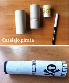 toilet paper roll pirate telescope craft for kids Pirate Day, Pirate Birthday, Pirate Theme, Pirate Activities, Craft Activities For Kids, Toilet Paper Roll Crafts, Cardboard Crafts, Diy Paper, Crafts To Do