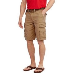 Faded Glory Men's Belted Stacked Cargo Short, Size: 28, Brown