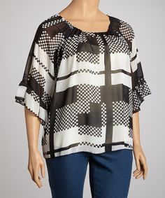 Take a look at this Black & White Sheer Peasant Top - Plus by R Rouge on #zulily today!