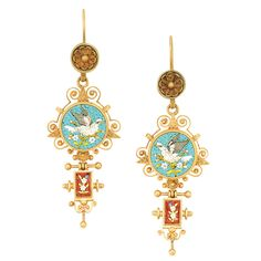 Pair of Antique Gold and Micromosaic Pendant-Earrings   The concave florets suspending two circular plaques depicting white tesserae doves within a turquoise blue ground, quartered by gold filigree scrolls, further suspending small rectangular red tesserae panels accented by a micromosaic floral design, circa 1880.
