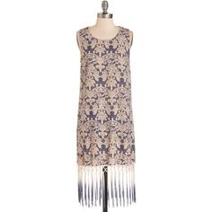 ModCloth Boho Long Sleeveless Shift Thank You for Being a Fringe Dress