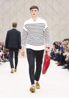 Burberry Prorsum Spring 2014 Cashmere Breton sweater with linen trousers and The Britain Bright in Windsor red resin