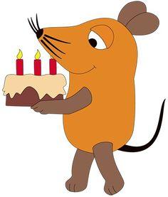Die aus der Sendung mit der Maus bekannte Maus ;) trägt eine Geburtstagstorte.  Diese Bastelvorlage eignet sich hervoragend, um im Kindergarten oder der Kita auf die einzelnen Geburtstage hinzuweisen.