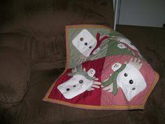 Snowmen Decorative Little throw Quilt Homespun by DebiDesigns