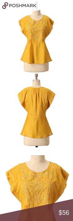 "Tiny Anthro M Yellow Climbing Vine Embroidered Top 🔸Tiny Anthro Sz M Yellow Climbing Vines Embroidered Blouse🔸Size M🔸Embroidered bust and sleeves with stems twirl and twine🔸Thin sheer material🔸NWOT🔸Pullover styling🔸Cotton🔸Machine wash🔸27""Length🔸Bust is 36-38""oversized🔸Imported🔸Style 913370 Anthropologie Tops Blouses"