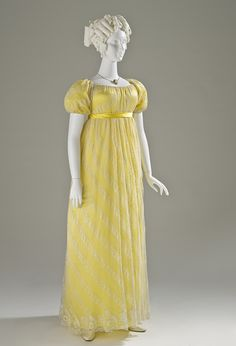 An adorable sunshine yellow dress dating to 1817 or 1818.
