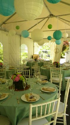 Backyard Bridal Shower With Blue White Paper Lanterns
