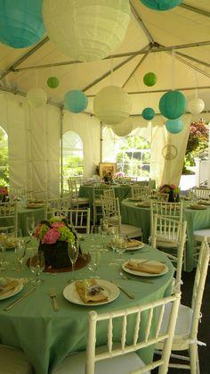 backyard bridal shower with blue & white paper lanterns