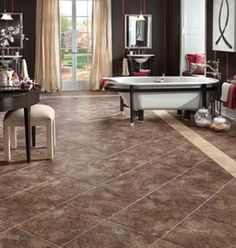 Congoleum DuraCeramic Sierra Slate and Earthpath available at Oscar's Carpet One. Home, Bathroom Makeover, Home Remodeling, Bathroom Renovations, Luxury Vinyl Tile, Flooring, Bathroom Flooring, Renovations, Beautiful Bathrooms