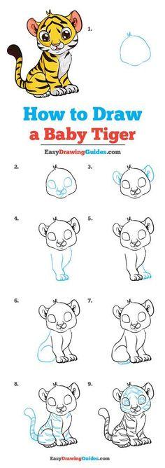 Tiger Drawing For Kids, Tiger Cartoon Drawing, Cartoon Drawings, Cute Drawings, How To Draw Tiger, Drawing Tutorials For Kids, Easy Drawings For Kids, Baby Drawing Easy, Tiger Drawing Tutorial