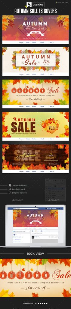 Autumn Sale Facebook Covers  5 Designs  — PSD Template #template #shop • Download ➝ https://graphicriver.net/item/autumn-sale-facebook-covers-5-designs/18285964?ref=pxcr