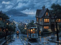 Russian Hill, North Beach District in San Francisco, California ~ painting by Thomas Kinkade Oh The Places You'll Go, Places To Travel, San Francisco California, California Usa, Northern California, North Beach, All Nature, Hampshire, Wonders Of The World