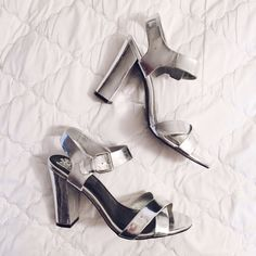 """Metallic Silver Strappy Heels Metallic silver heels with chunky straps & block 4.5"""" heel. Fit pretty snug. Worn a couple times. Free Press Shoes Heels"""