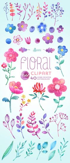 Floral Watercolour Clipart Violet: 40 Elements. Handpainted watercolor flowers, wedding diy elements, berry, leaves, decorative, baby invite