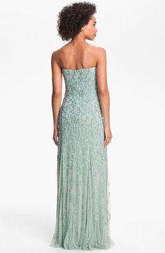 Adrianna Papell Strapless Beaded Mesh Gown (Online Exclusive) | Nordstrom