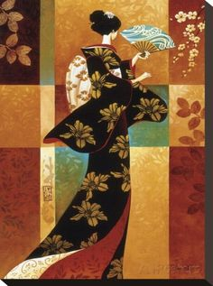 Sakura- Keith Mallett~ A geisha dressed in a bold patterned kimono, fans herself on a warm summer day. This colorful open edition print is pencil signed by the artist. Art Geisha, Geisha Kunst, Asian Quilts, Art Chinois, Art Asiatique, Art Japonais, Japanese Geisha, Japanese Kimono, Geisha Japan