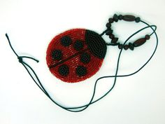 Ladybug  Beaded necklace brooch  red and black by LaGansaHandiwork