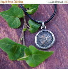 SALE Silver Coin Necklace - Zeus - Greek Mythology God - 925 Sterling Silver