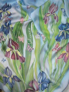 personalized long silk scarf for women, handpainted gift for girlfriend,  gift for women, Silk scarf Butterflies Flowers irises 8eef1d17308