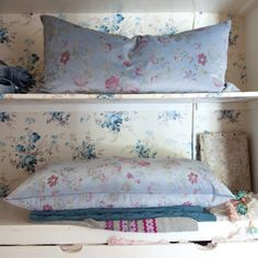 Sophie Velvet Body Pillow from Rachel Ashwell Shabby Chic Couture, in a wallpaper lined cabinet Simply Shabby Chic, Shabby Chic Pink, Shabby Chic Style, Cottage Style, Cottage Living, Coastal Cottage, Cottage Chic, Shabby Chic Couture, Rose Clothing