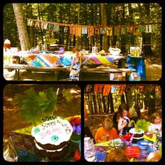 Birthday party in the woods -- This is from my friend Cori. She MADE ALL of this for her daughter's birthday party (table cloth/quilt, banner, etc). What an awesome birthday party for a kid...