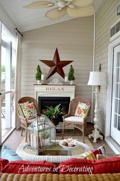 Adventures in Decorating: Our Summer Porch and Fun in the Sun! - Adventures in Decorating: Our Summer Porch and Fun in the Sun! The Effective Pictures We Offer You - Small Porches, Decks And Porches, Front Porches, Country Porches, Southern Porches, Enclosed Porches, Southern Living, Home Porch, House With Porch