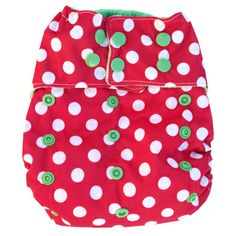Three Monkeys - Red & White Polka Dot - Cloth Diapers - Cotton Babies Cloth Diaper Store