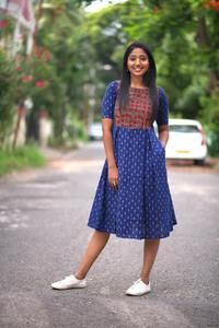Curated online store for apparel and accessories. Frock Fashion, Indian Fashion Dresses, Dress Indian Style, Kalamkari Dresses, Ikkat Dresses, Kalamkari Kurti, Anarkali Kurti, Lehenga Gown, Saree