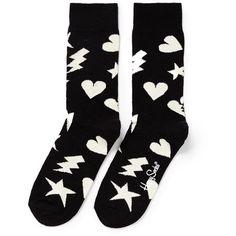 Happy Socks 'Punk Love' socks (220 MXN) ❤ liked on Polyvore featuring intimates, hosiery, socks, black, mid calf socks, black socks, heart socks, rock socks and black hosiery