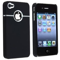 New Deluxe Black Case Cover W/chrome for Iphone 4 (AT&T only) $2.05