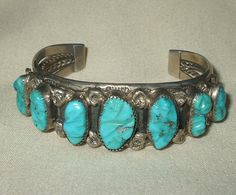 Vintage Navajo Sterling Silver & Turquoise Cuff BRACELET signed DMY AT, Dick Mike Yazzie