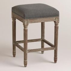One of my favorite discoveries at WorldMarket.com: Charcoal Linen Paige Backless Counter Stool