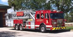 ◆St Petersburg, FL FD Ladder 13 ~ 2011 Sutphen Shield 100' Mid-Mount Tower◆
