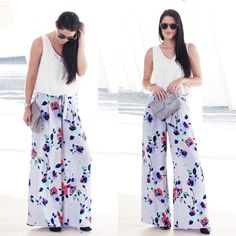 Floral. wide-leg pants for Fall? Yes, please! #anthropologie