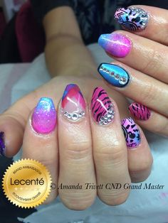 Neon ombre shellac neon pigment powder is burnished into shellac cnd shellac pigments swarovski crystals pink champagne blackcurrent baby blue with handpainted zebra design created using brush prinsesfo Image collections