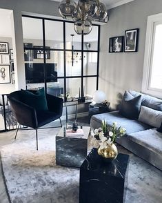 moody apartment decor, chic apartment decor, black and grey apartment decor