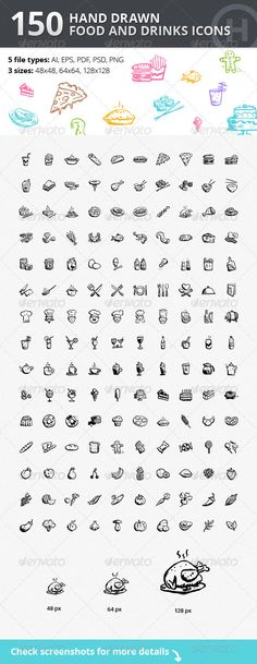 Hand-drawn Food and Drinks Icons - GraphicRiver #icons #food #drinks #restaurant #cafe