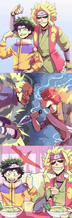 Midoriya, All Might, Todoroki, Bakugo, My Hero Academia.