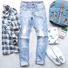 distressed low rise skinny jean - medium blue denim wash - shophearts - 1