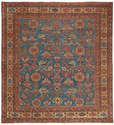 Bakshaish, 8ft 8in x 9ft 5in, Circa 1850. This mid 19th century geometric antique carpet demonstrates profound artistic depth. Made enrapturing by its effusive colors and enigmatic overscale motifs in a continually changing innovative arrangement, this collectible 19th century antique Persian carpet employs richly striated shades in its radiant cerulean to azure blue field, a hallmark of the prized Northwest Persian Bakshaish rug style.